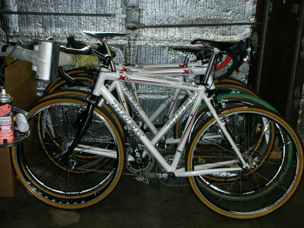 Stack of bikes in the garage.