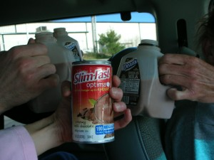 Ater race drink.  Guys, chocolate milk, ??? Slimfast?