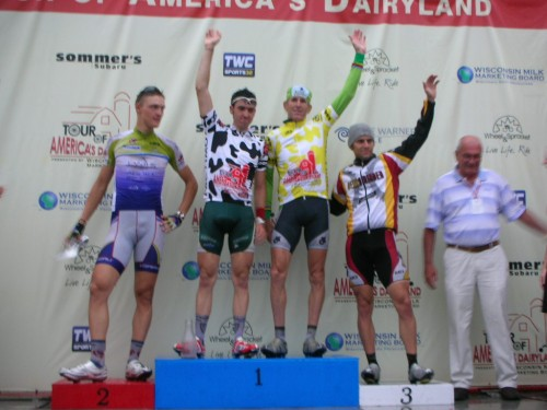 Podium with leaders jersey.