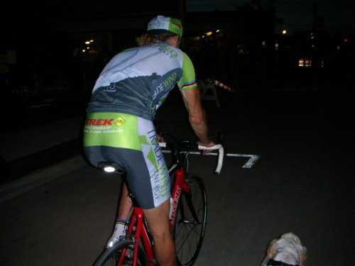 Riding back to my car at night with Bromont.