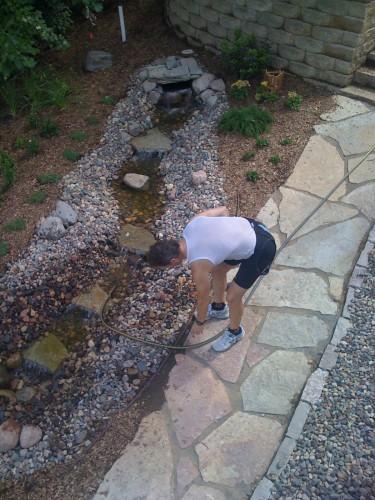 Bob getting the stream flowing.