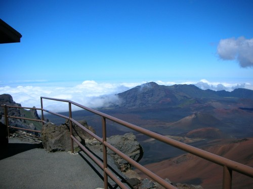 "Shot from the top toward the ""crater""."