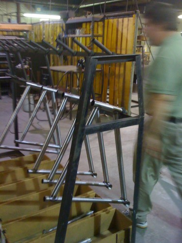 Steel frames waiting for some rear triangles to be attached.  Seems like there were a lot of cross bikes going out.