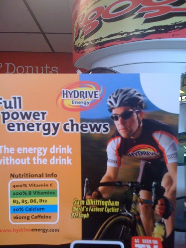 I took this photo at a gas station in Iowa.  Some energy pill.  I was thinking maybe Mark Cavendish could use this guy for his leadouts. (He really is the World's Fastest Cyclist, technically.)