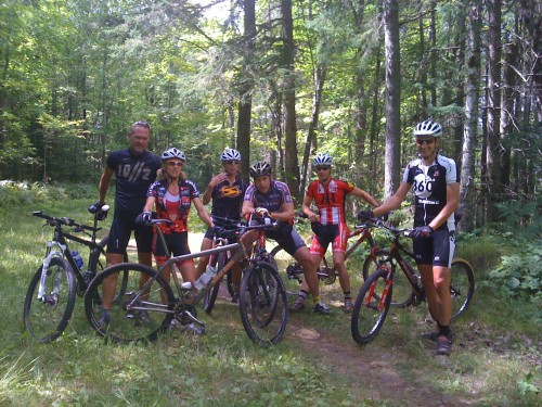 Group shot, my bike only-Jeff Bradley, Catherine Walberg, Drew Holbrook, Lynne Cecil, Bill Stolte and Ketith Walberg.  In this group there is a Birkie winner, a Tour de France rider, and multiple time Chequamegon winners.
