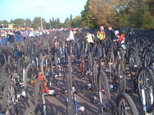 1800 bikes lined up as early as the night before.