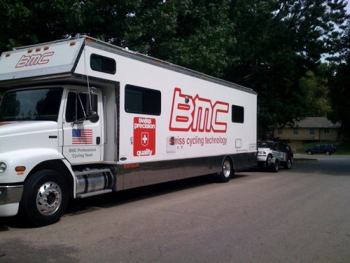 Like my neighbors didn't already wonder, the BMC guys stopped through to get Trudi's team car.