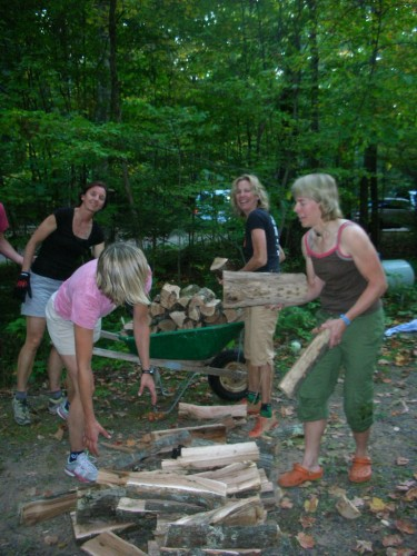 Nothing  like having a bunch of women moving wood for ya.