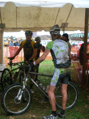 At the finish in the tent talking to a little shell shocked Jon Schottler.