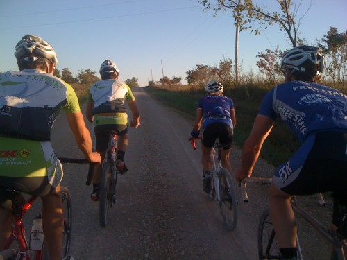 Riding gravel North of Lawrence with Bill, Brian, Catherine and Matt Gilhousen (TradeWind Energy guru).