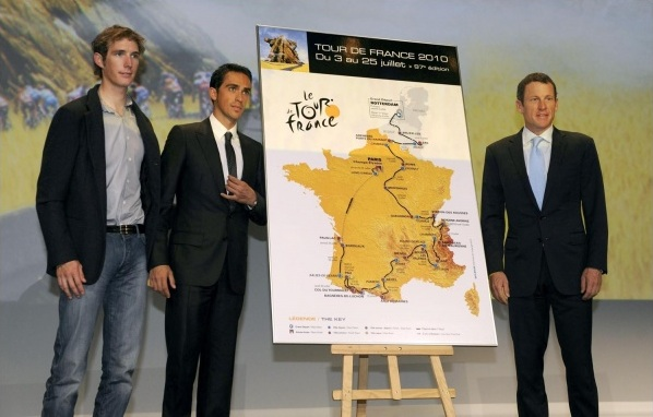 I liked Andy Schleck's clothing choice at the 2010 TdF route presentation.