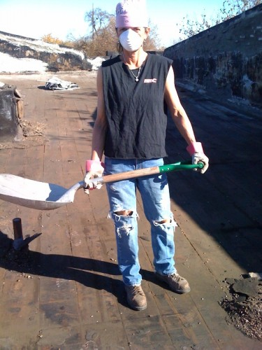 Trudi flying her BMC colors for the roofing project.