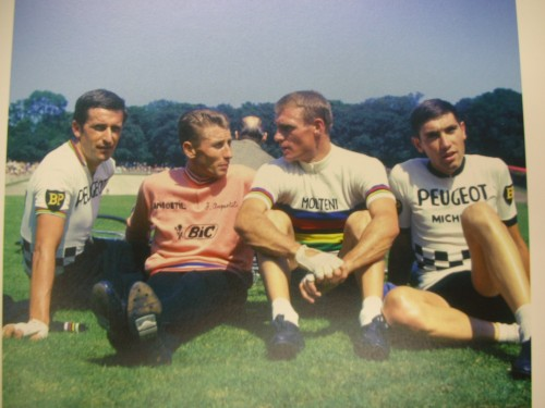 Merckx with Tom Simpson, Jacques Anquetil and Rudi Altig in 1967.
