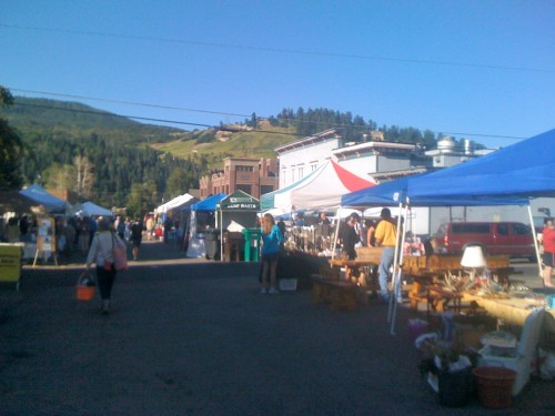 The farmer's market on Saturday morning in Steamboat Springs.