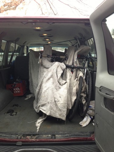 This is 6 bikes, with wheels.  The blankets I put between the bikes, I got at a spa, next to the hotel at Cross Natz in Napa.  Trudi asked for a blanket, so I wouldn't mess up the rental car and she came back with a stack of blankets that were oil covered and not usable anymore.  That was over a decade ago.