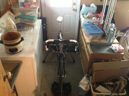 There isn't much extra space in the garage for riding a trainer.