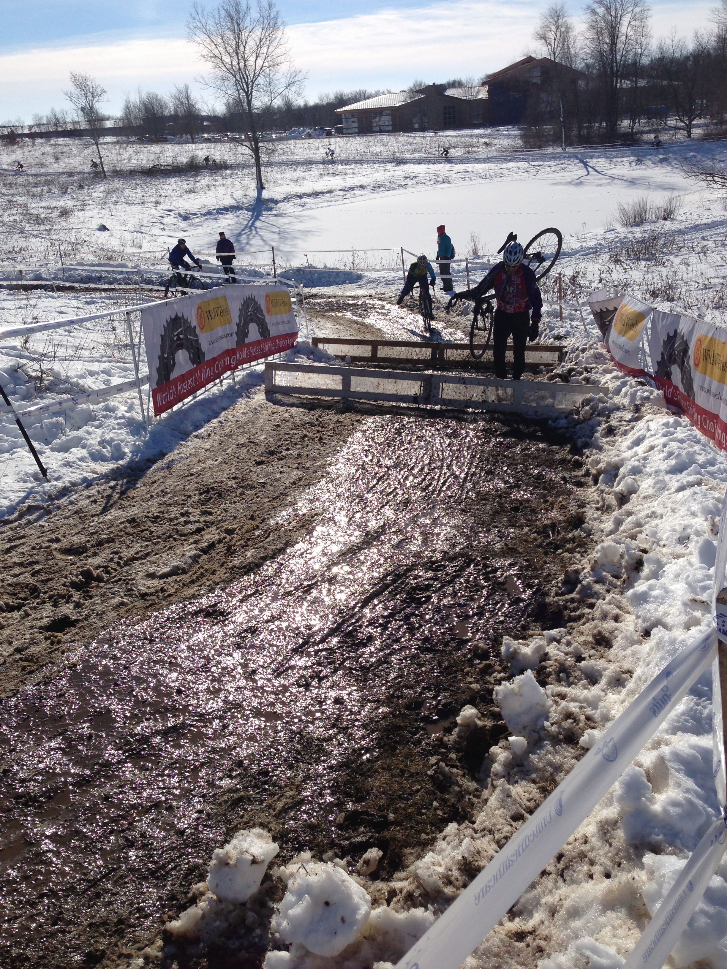 The course after the barriers is frozen mud, which is rideable.