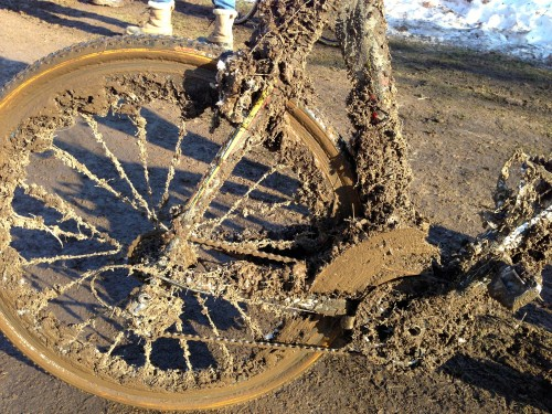 I'm not sure I've seen more mud on a cross bike before.