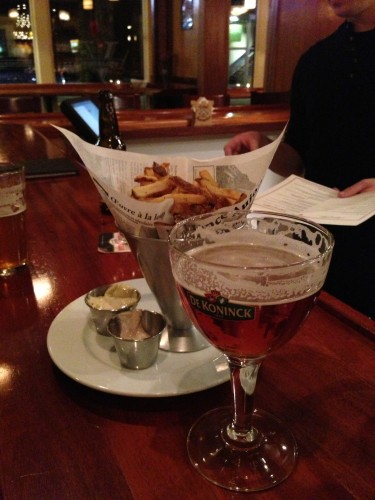 We had frites and Belgian beer before dinner.