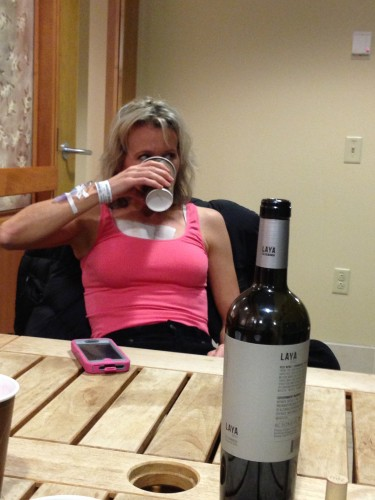 Finally, we took a bottle of wine over to the hospital and drank it with Catherine late.