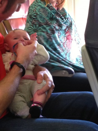 The connecting flight, I had this little guy screaming the whole way.  I didn't mind that much.
