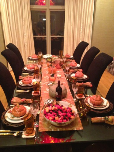 This is the table setting, at least as nice as any Thanksgiving as I've ever done.