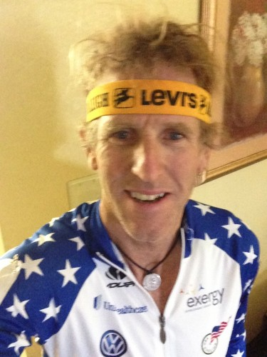 I wore a NOS Levis/Raleigh headband in the qualifying race for good luck.  