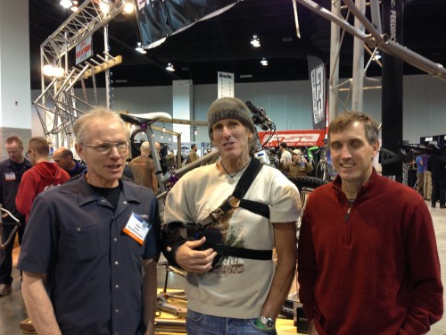 This is Kent Eriksen, Vincent and I in front of the Eriksen Cycles booth.