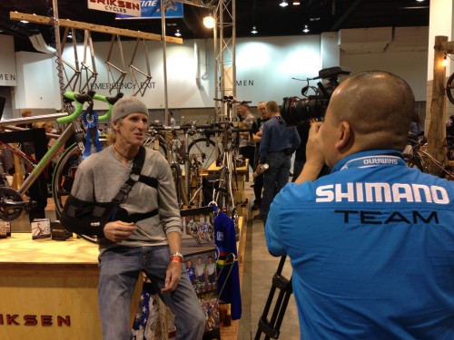 Doing an interview about the Di2 shifting I used for cross Nationals and Worlds.