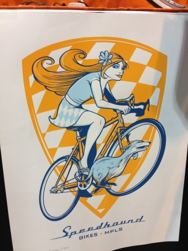 I liked the logo for Speedhound Bicycles.  Nothing wrong with a girl riding a bike with a fit looking dog.