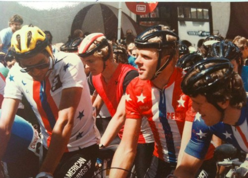 I think this is the start of the Vail Criterium in 1984,  This is Alexi, Ron Keifel and myself.  That was an Olympic year and they only allowed National Teams in the race.  The US got three teams, the red team, white team and blue team.
