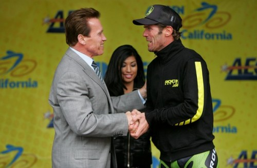 Arnold and Cipo hanging at the Tour of California.