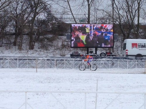 One lap to go in the women's race.