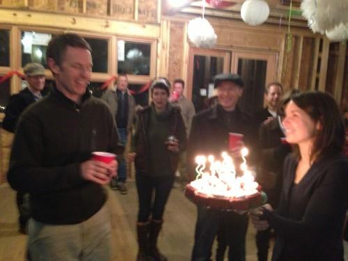 This is Cailinn giving Matt his birthday cupcakes.