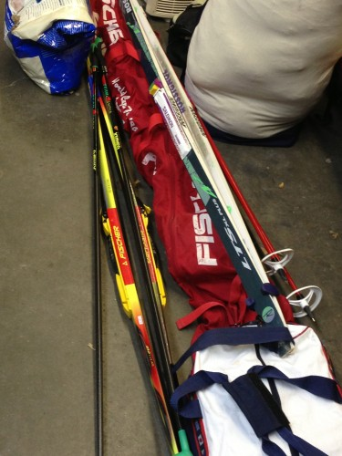 Trudi is packing like it's a vacation.  Two types of nordic skis, plus her downhill skis too.