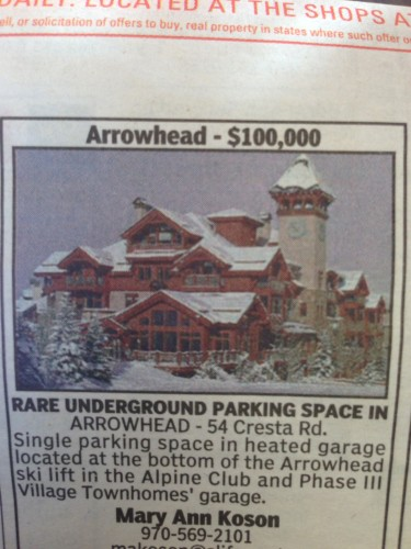 How about this great deal for a parking space for your car?