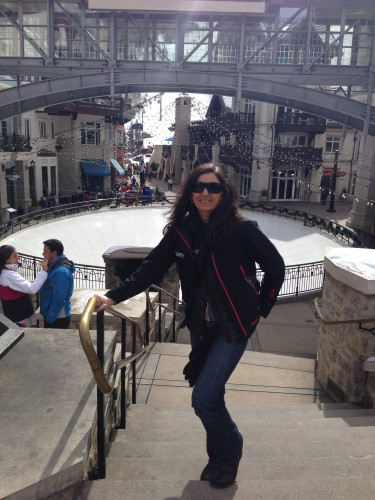 This is Trudi in front of the skating ring by the Lion's Head Gondola.  There is usually a couple hours between PT treatments and the walking does me good.