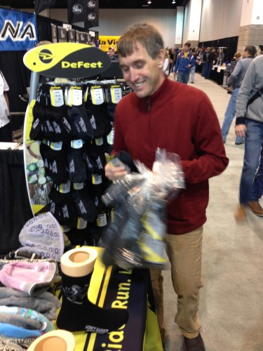 Vincent bought 29 pair of Defeet wool socks right when we got to the show.  His rational is that you don't have to spend any time matching up the pairs if all your socks are the same.  Hard to argue with that.