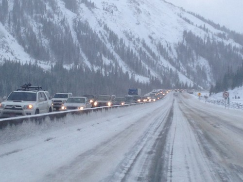 The traffic up by the Eisenhower tunnel was not moving coming down on Sunday night.