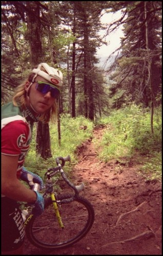 And this is John Tomac, riding his dropped bar MTB bike, all shaggy and stylish.