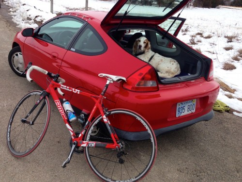 Trudi rode the 25 miles over to the race.  Her bike barely fit into the Insight.