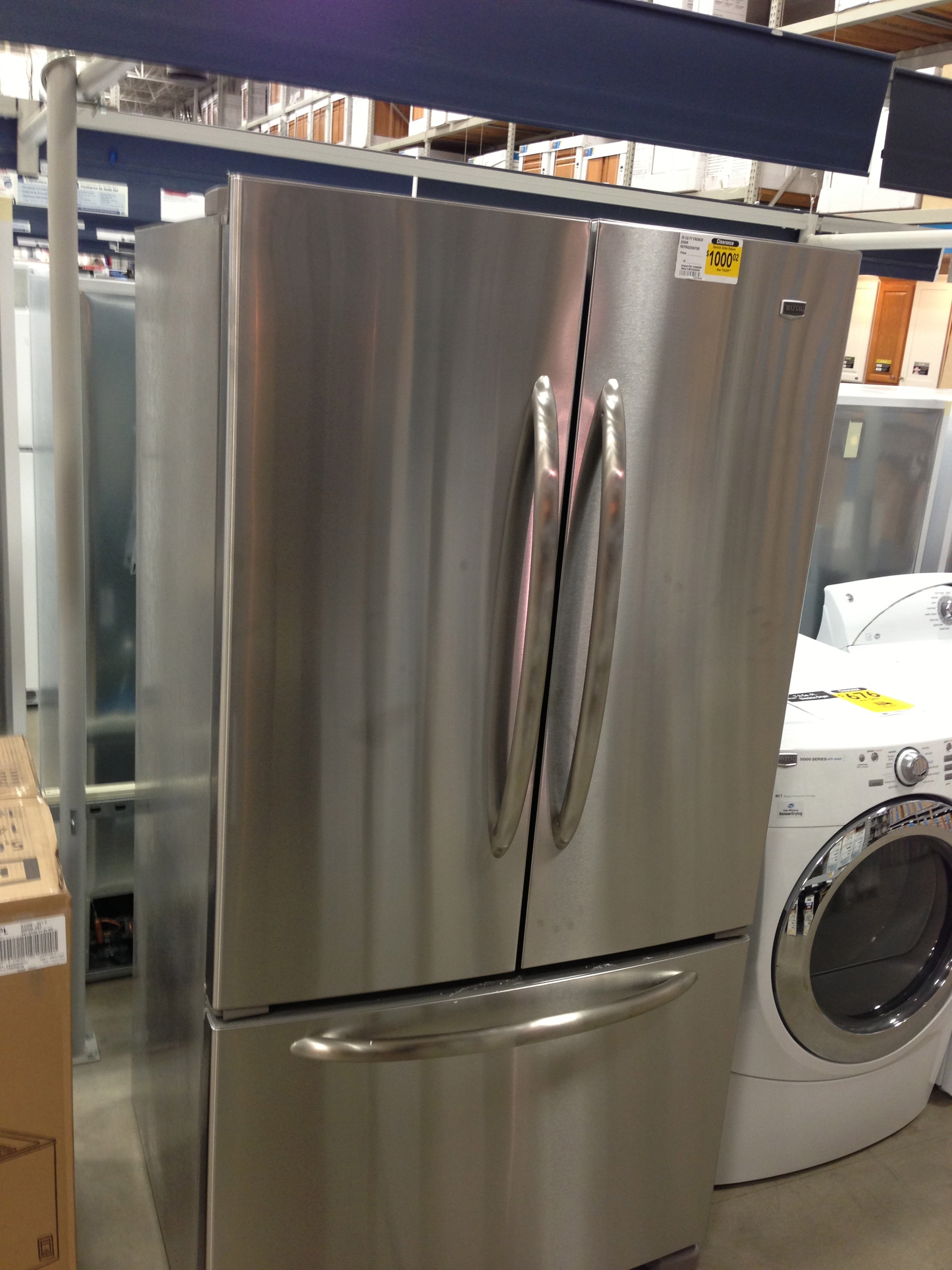 Here is the refrigerator sitting over at Lowes.  They are delivering it on Sunday, which seems weird.