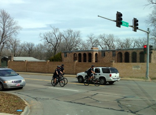 It was so warm yesterday here in Eastern Kansas that the bike cops were riding around in shorts.