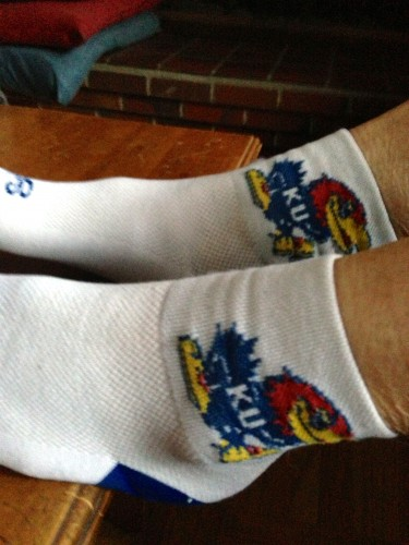 Trudi wore here KU cycling socks for the game last night.