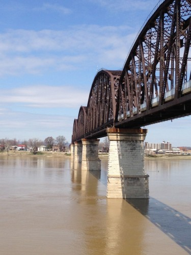 The new pedestrian bridge in Louisville.  It is an old railroad bridge converted.