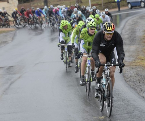 Tom Boonen  setting tempo at Paris-Nice.  I remember when he used to try to win stages here.