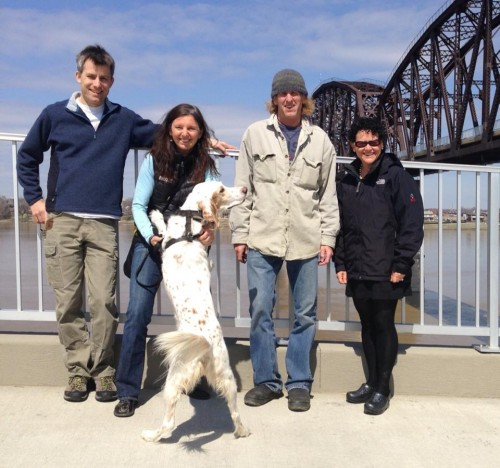 Karl, Trudi, B-man, me and Stacie at the new pedestrian bridge in Louisville.