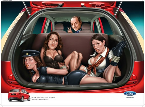 This is an advertisement that Ford Motor Company produced in India.   Can you believe it, after all the trouble they have had over there with the abuse of women?  I very much doubt this could sell cars, but you never know. Heres a link to the article about the ad.