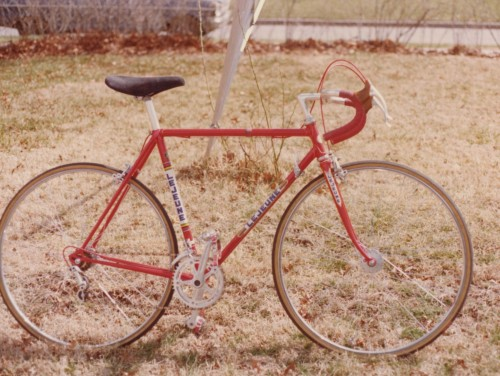 My first real bike.  I rode this as an intermediate, just until I had mowed enough yards to buy a Colnago. How about those Phil Wood hubs?