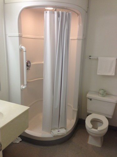 The bathrooms in Motel 6 are modular, kind of weird, but worked out okay.